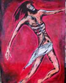 El Cristo Sobre Manto Rojo, obra de Saúl Fernández exhibida durante la Noche de Los Museos