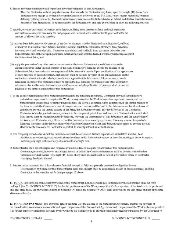 Standard Form of Agreement Between Contractor and Subcontractor – Subcontractor Agreements