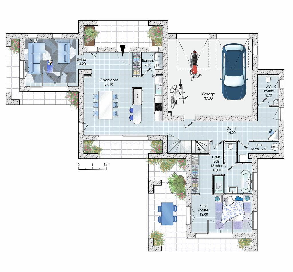 Villa Darchitecte Personnalise Dtail Du Plan De Villa
