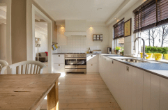 a kitchen with wooden floor