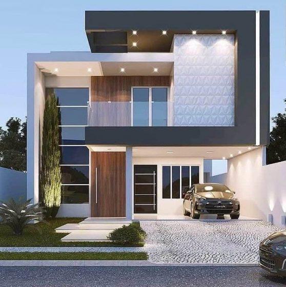 Modern tarz iki katlı ev cephe tasarımı, garaj ile gri ve beyaz renkler