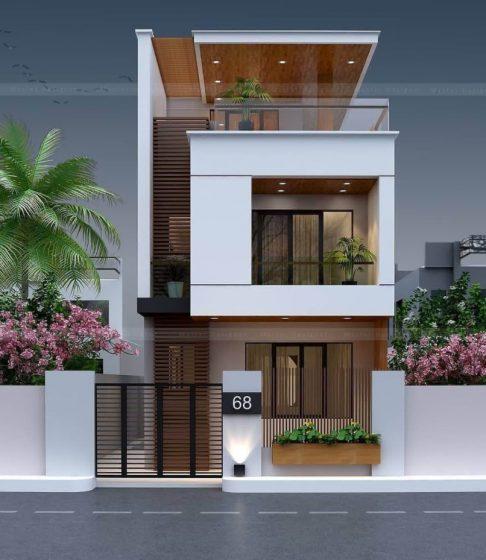Geniş çatı teraslı modern iki katlı ev tasarımı