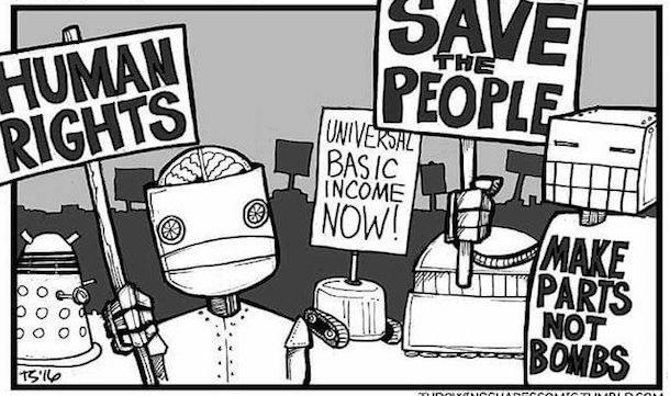 robots protestano per il reddito di cittadinanza