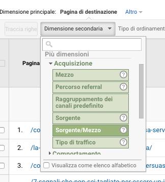 google analytics dimensione secondario sorgente mezzo