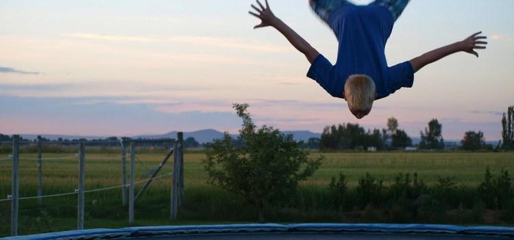 Man Falling On Trampoline