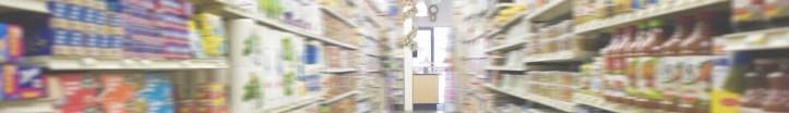 A blurry supermarket aisle