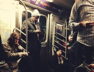 People in stalled NYC subway