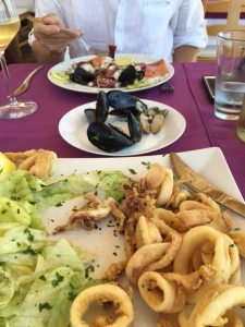 Calamari Friti and Seafood Salad Mixto, Trattoria Portobello, San Leone, Agrigento, Sicily