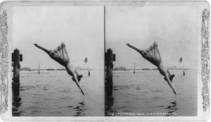Stereocard featuring a woman diving in the standard swimsuit. Taken by J.S. Johnston ca.1892. (Library of Congress.)
