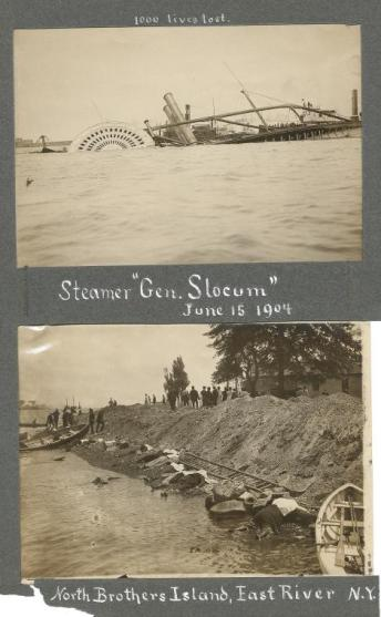 "Manuscripts and Archives Division, The New York Public Library. ""Steamer 'Gen. Slocum' June 15, 1904 [above]; North Brothers Island, East River, N.Y. [below]."""