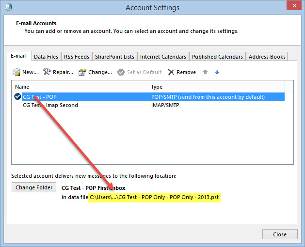 how to change outlook imap email to pop3