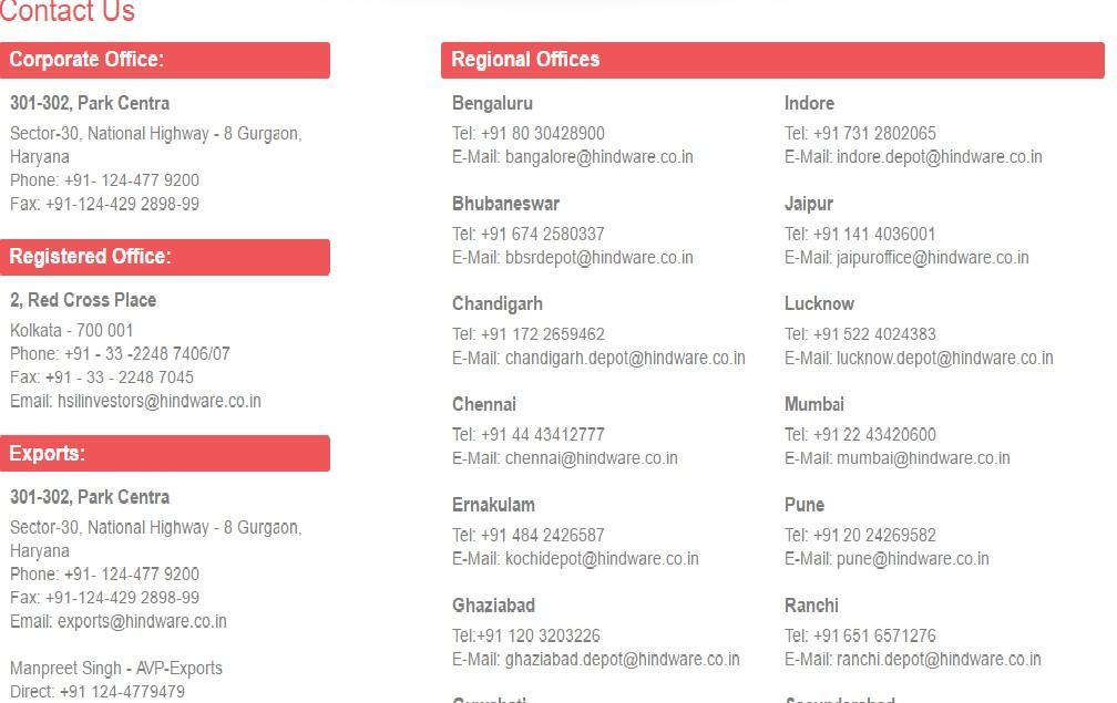 hindware office address