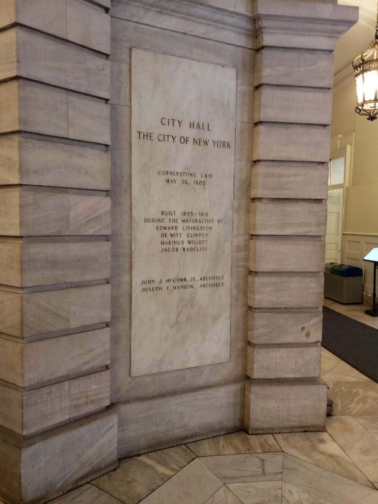Piedra Fundamental del City Hall de Nueva York