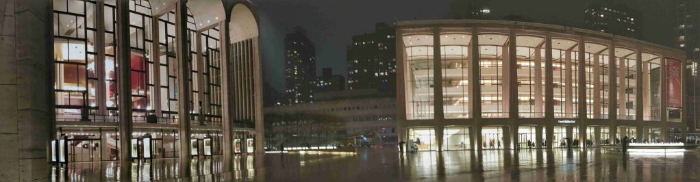Panoramica nocturna del Lincoln Center