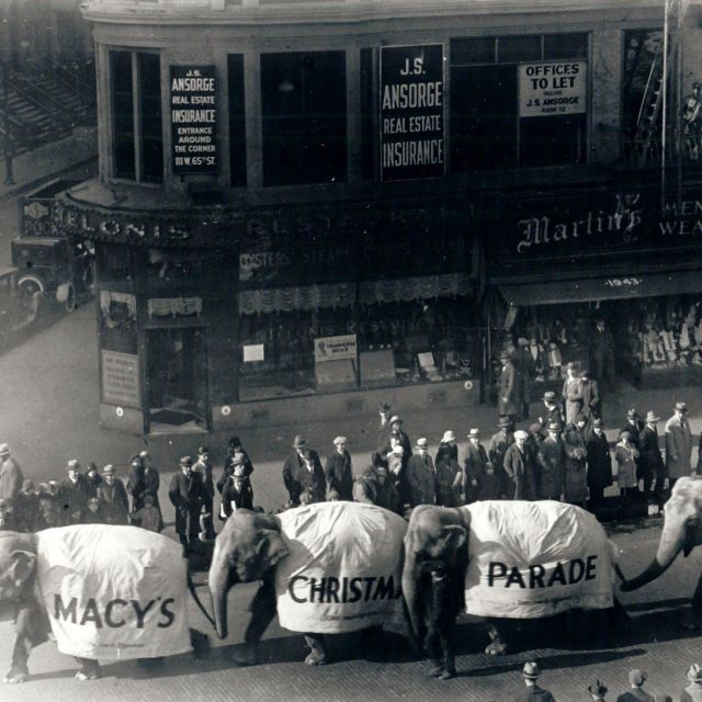 Elephants in the first Macy's Parade 1924, then called Macy's Christmas Parade. Via Macy's Inc.