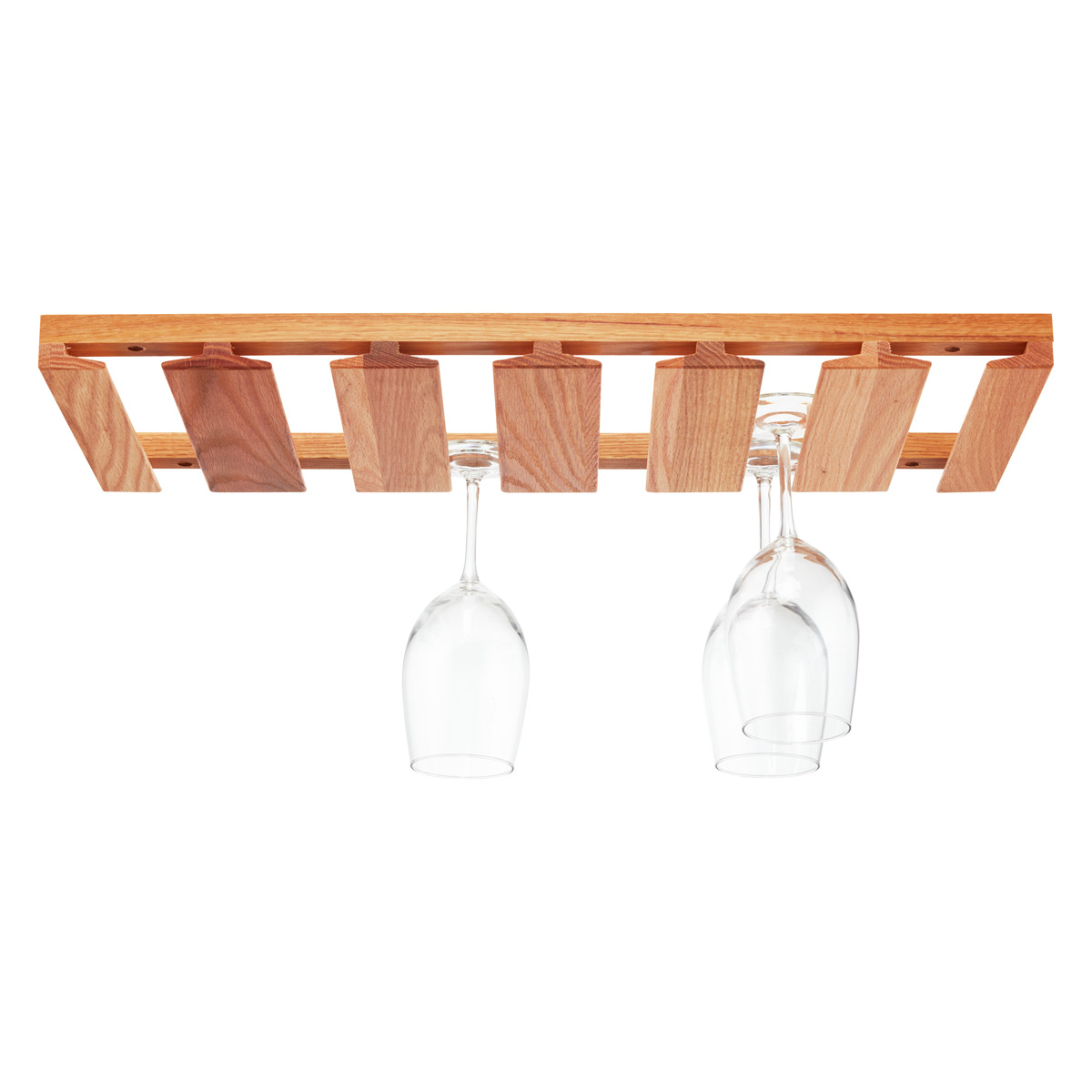 oak undercabinet wine glass rack