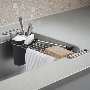kohler chrome kitchen sink utility rack