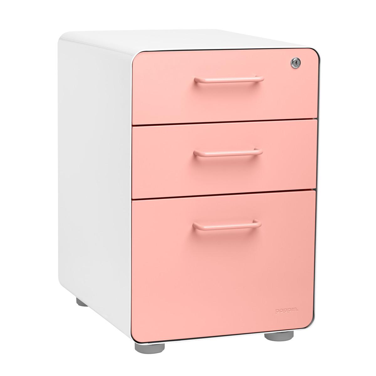 Poppin Blush 3 Drawer Stow Locking Filing Cabinet