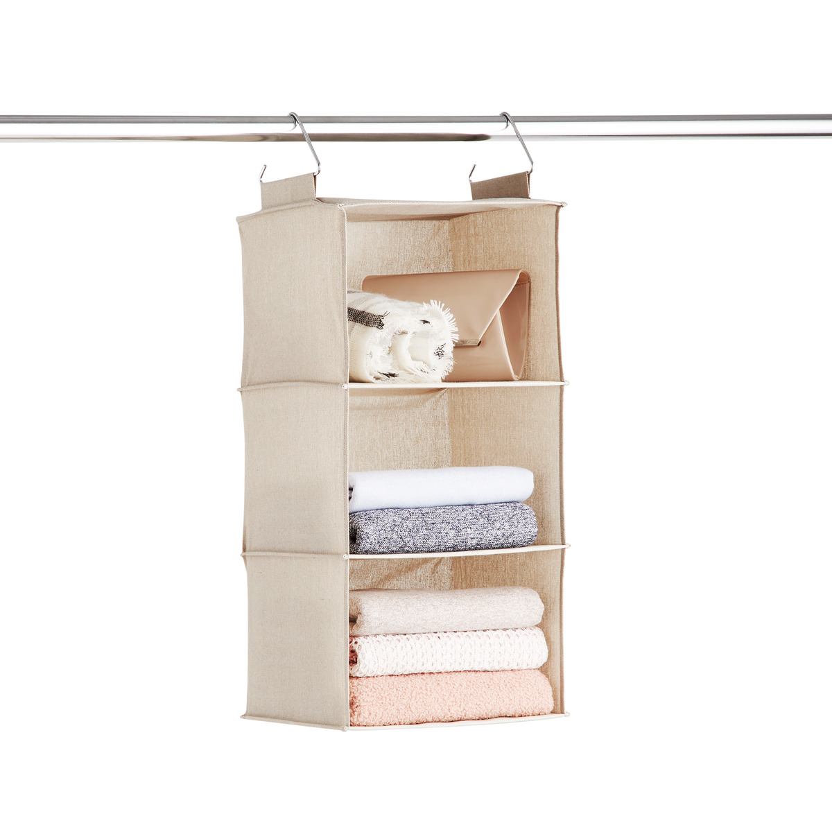 Taupe 3 Compartment Hanging Sweater Organizer