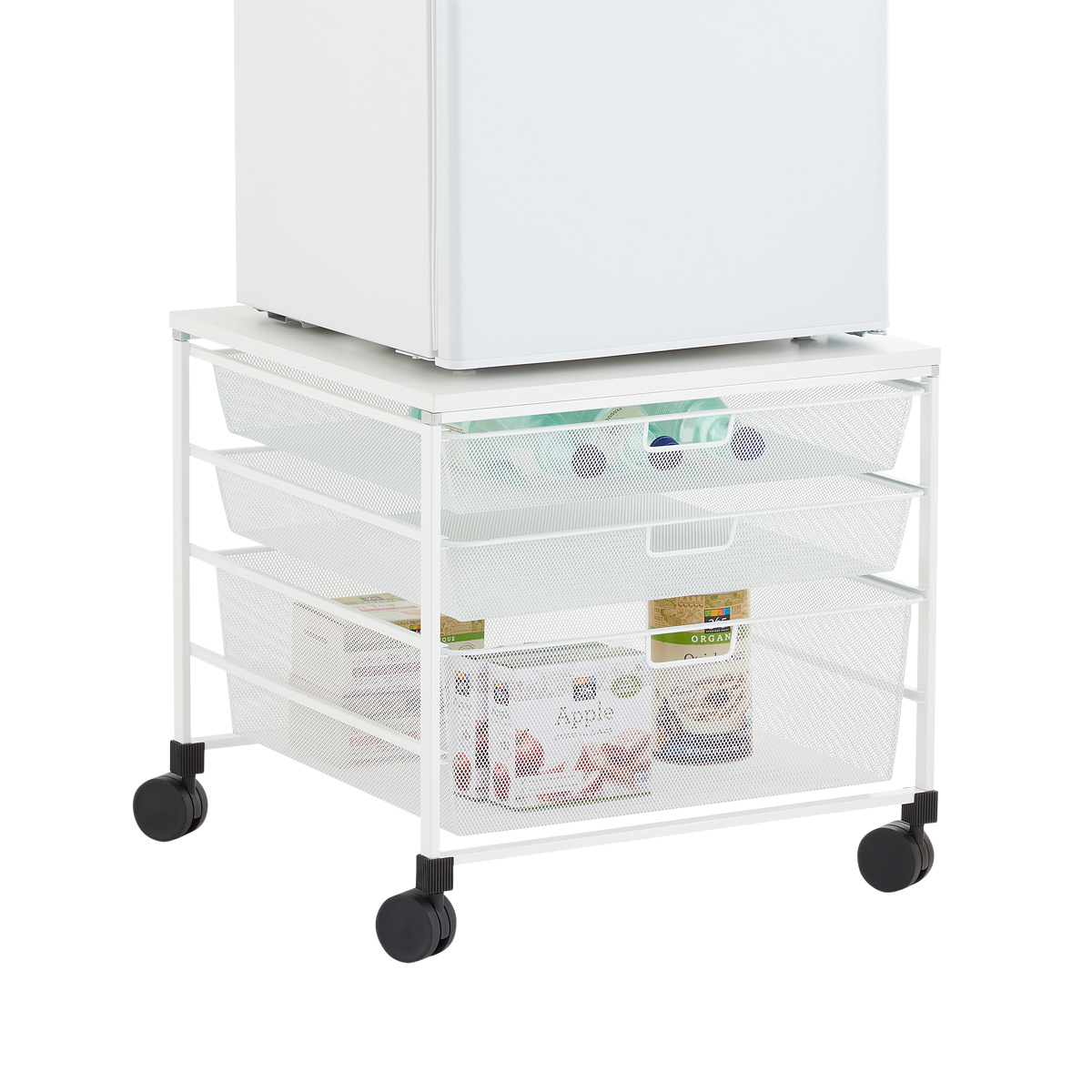 elfa white mesh rolling cart with drawers