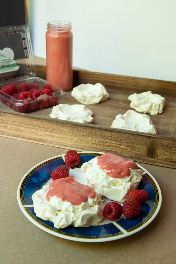 Pavlova with lemongrass infused cream and strawberry curd