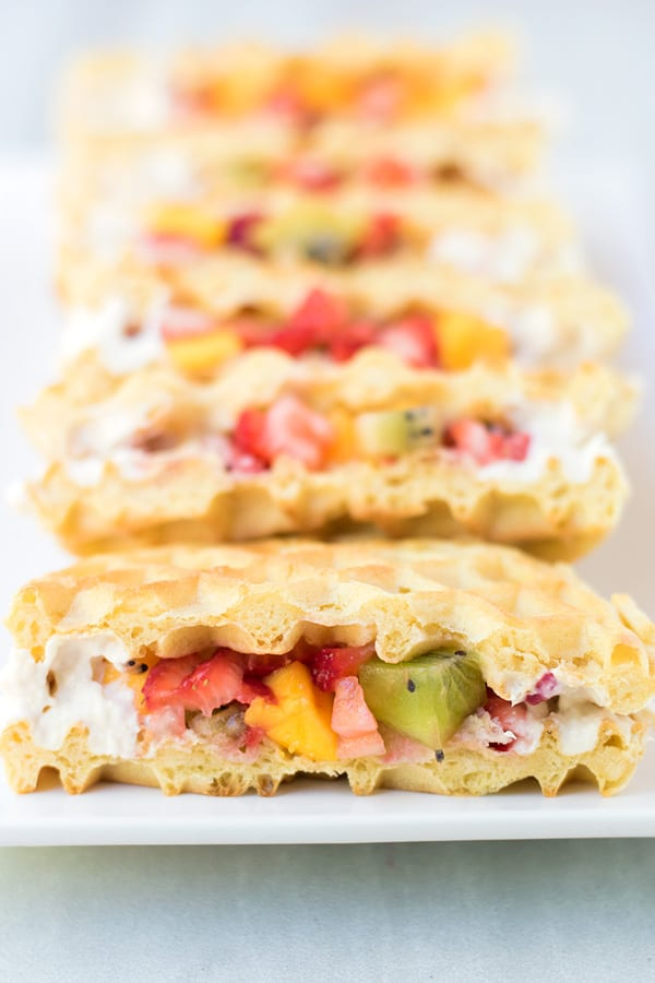 Fruit and Maple Waffle Tacos- These waffle tacos are filled with chopped fruit and sealed with a homemade maple cream cheese. It comes together so easily, you could serve this on a weekday morning!
