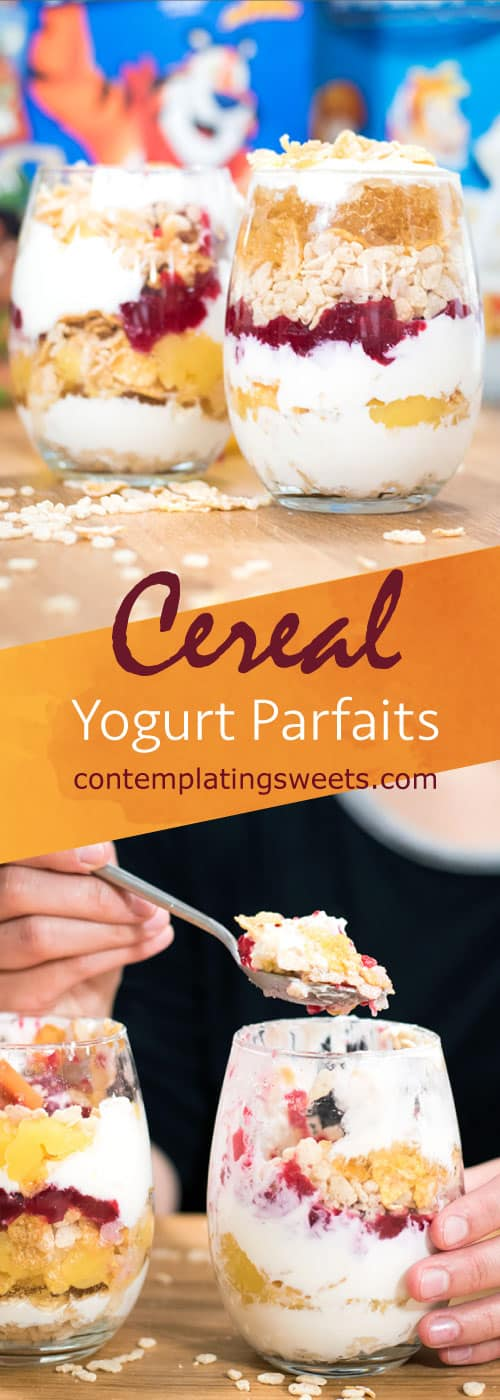 Yogurt and Cereal parfait with fruit jelly- This super easy breakfast parfait comes together in a snap. Just a little prep work the night before means a special breakfast the next morning.