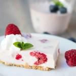 "This Japanese style yogurt no bake cheesecake, or ""rare cheesecake"" is the perfect not-too-sweet treat."