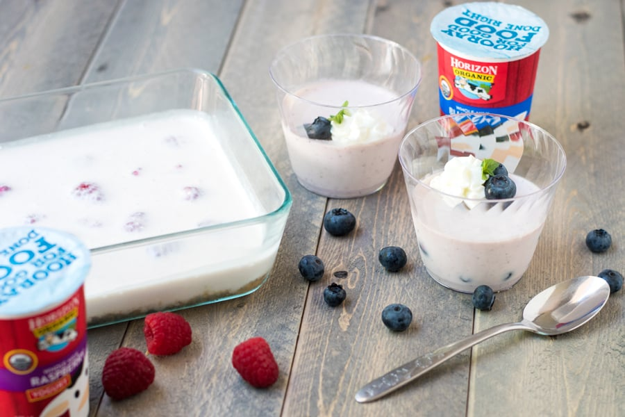 Unsliced raspberry no bake yogurt cheesecake with two blueberry no bake yogurt cheesecake cups.
