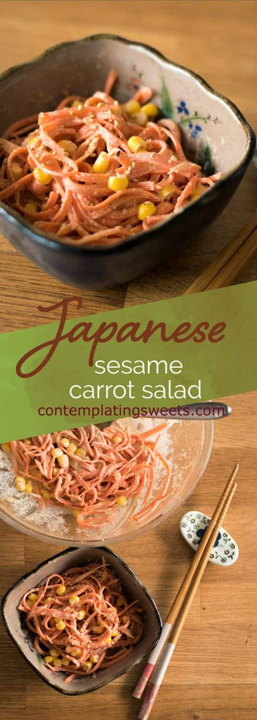 Japanese sesame carrot salad: Carrots and corn come together with a sesame mayo dressing to make a tangy, roasty, and smooth salad. The dressing is customizable to your tastes, and is delicious on salads and great for dipping.