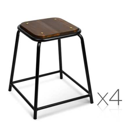 Retro Stackable Wooden Seat Stools | 4