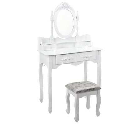 4 Drawer Dressing Table With Mirror White