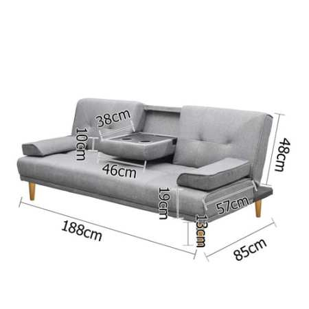 Sofa Bed Grey Linen