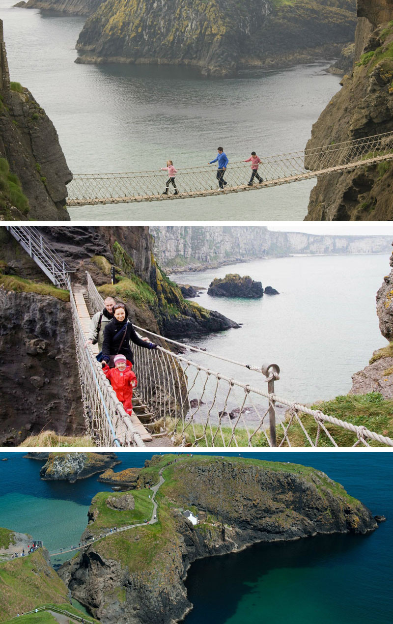 10 Of The Most AMAZING Suspension Bridges In The World // Carrick-a-Rede in Northern Ireland was first built 400 years ago by fishermen to check on their salmon traps. It's been restored over the years and is now a popular tourist destination on the Northern Ireland coast.