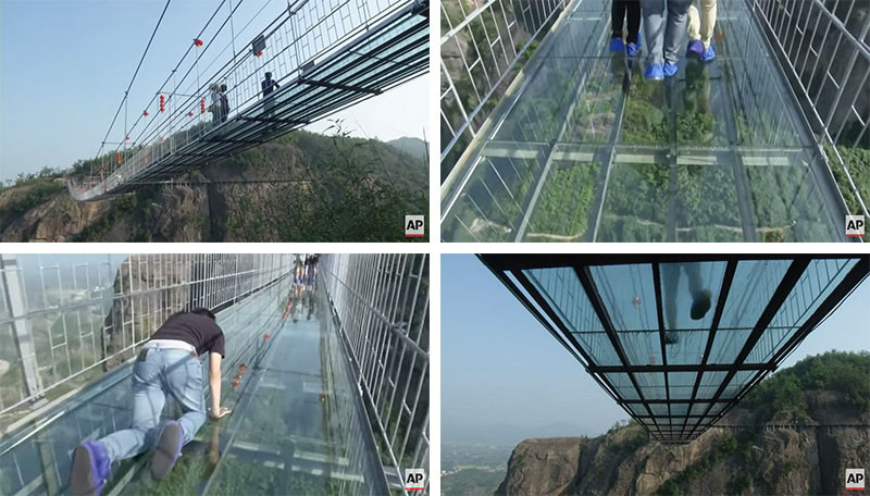 10 Of The Most AMAZING Suspension Bridges In The World // This glass bridge in the Shiniuzhai National Geological Park in central China, used to be made of wood.