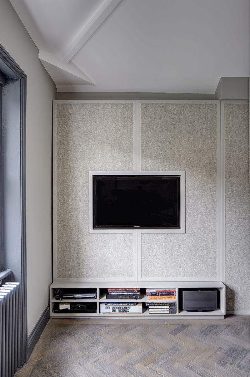 TV Wall Design Idea Hide Shelves With Large Custom Made Cabinet Doors