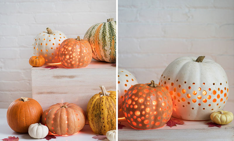 """13 Modern DIY Halloween Pumpkin Ideas // Lose the """"jack"""" and just make a lantern using a drill and a bit of matte finish paint."""
