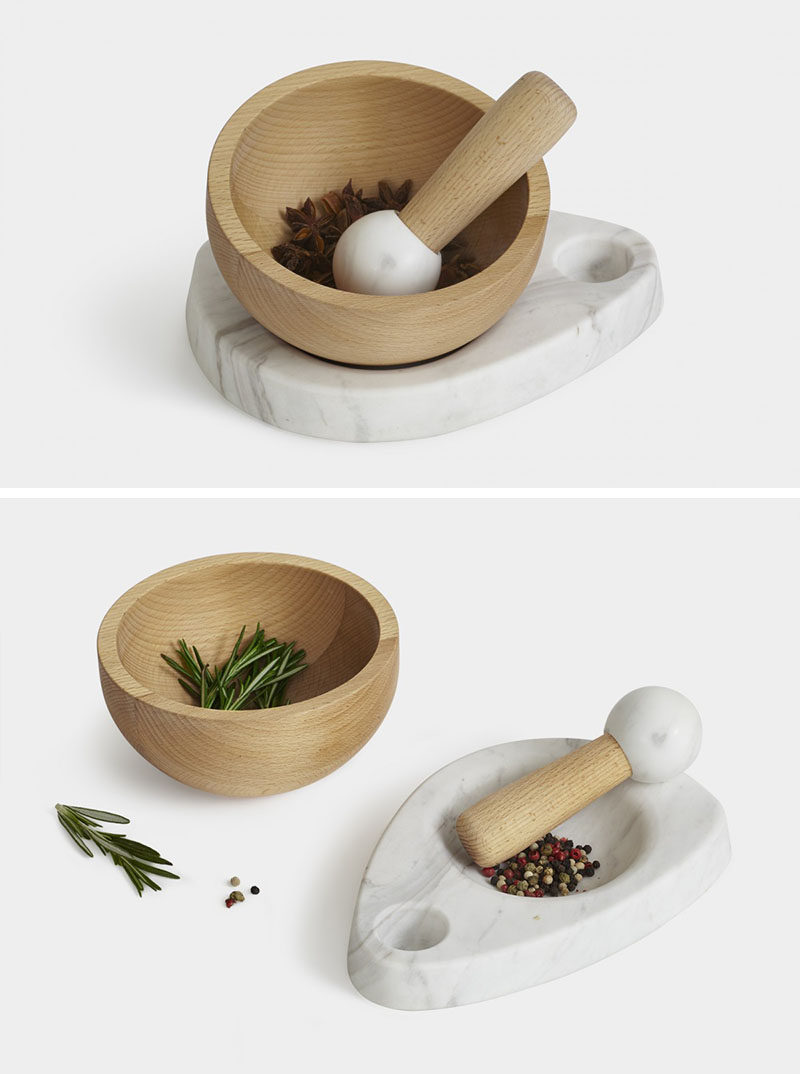 Gift Ideas For People Who Love To Cook // This mortar and pestle can be used in a number of ways to get various degrees of coarseness with the wood bowl being ideal for soft grinding and the marble dish being better for crushing.