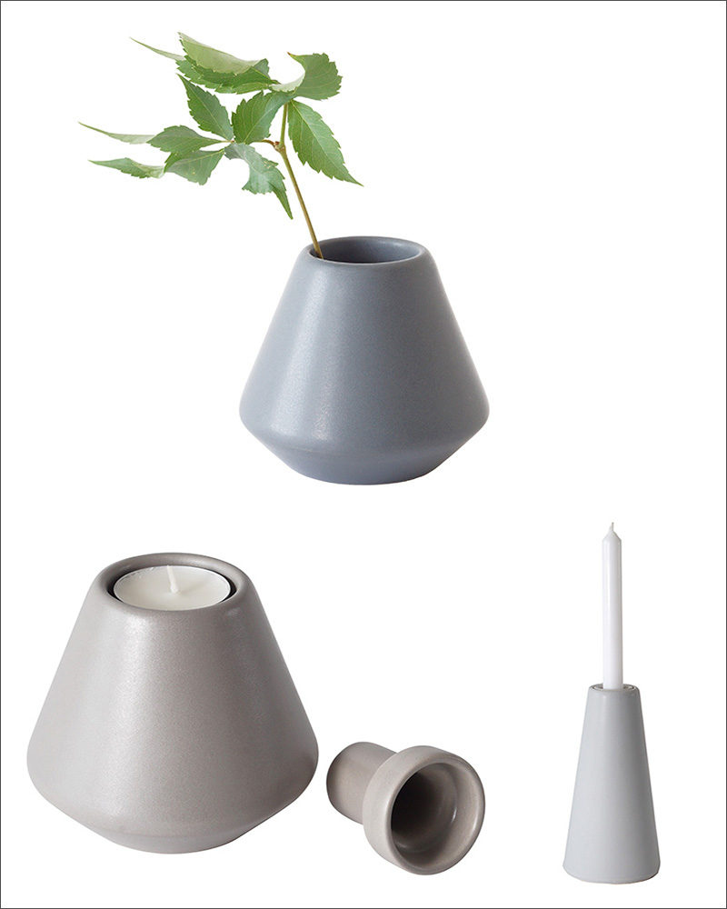 Small inserts inside these candle holders can be removed to transform the Vulcano candle holders into elegant tiny vases just the right size for a few wildflowers or replacement candles.