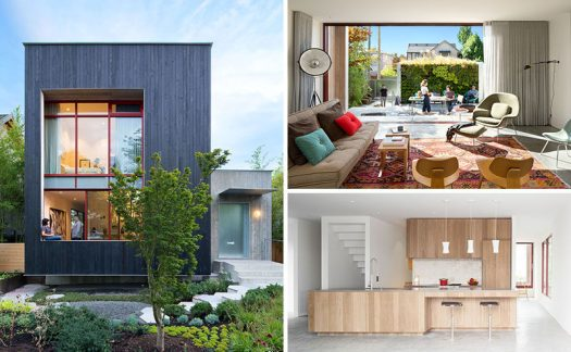Measured Architecture Inc. have designed this modern single family house in Vancouver, Canada, that opens up to a backyard patio area with a green wall.