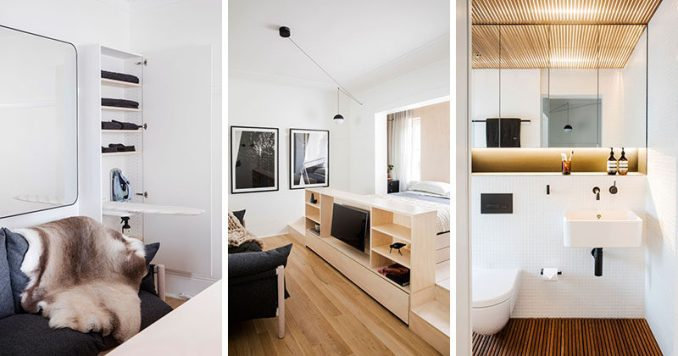 Architect Prineas have designed this tiny apartment in Sydney, Australia, that fits everything into an interior that measures in at 236 square foot (22m2), and is designed as short-stay boutique accommodation.