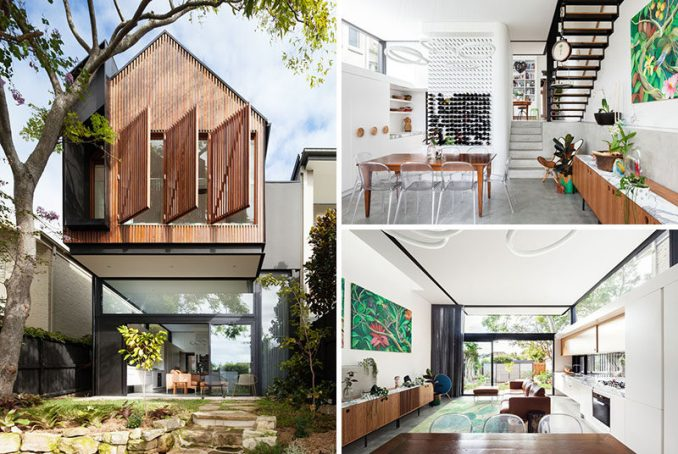 Day Bukh Architects have designed an extension to a semi-detached house in Sydney, Australia. The rear extension with wood slats cantilevers away from the house and provides shade for the small patio below.