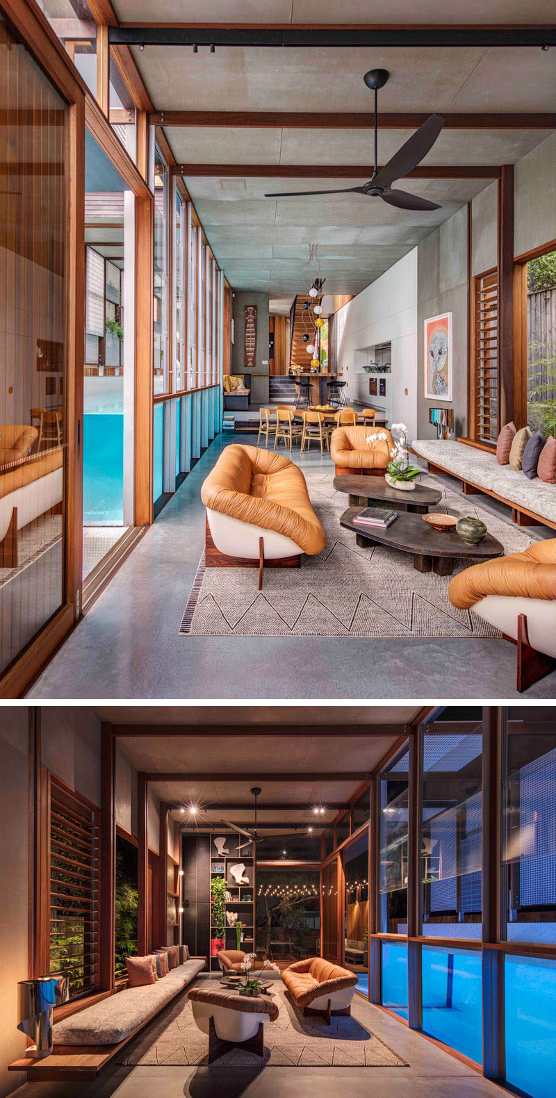 In this living room, there's a large wooden bench that runs the length of the space and additional seating makes sure there's plenty of room for entertaining. The living room also opens up to an outdoor living space and kitchen with a bbq and pizza oven.