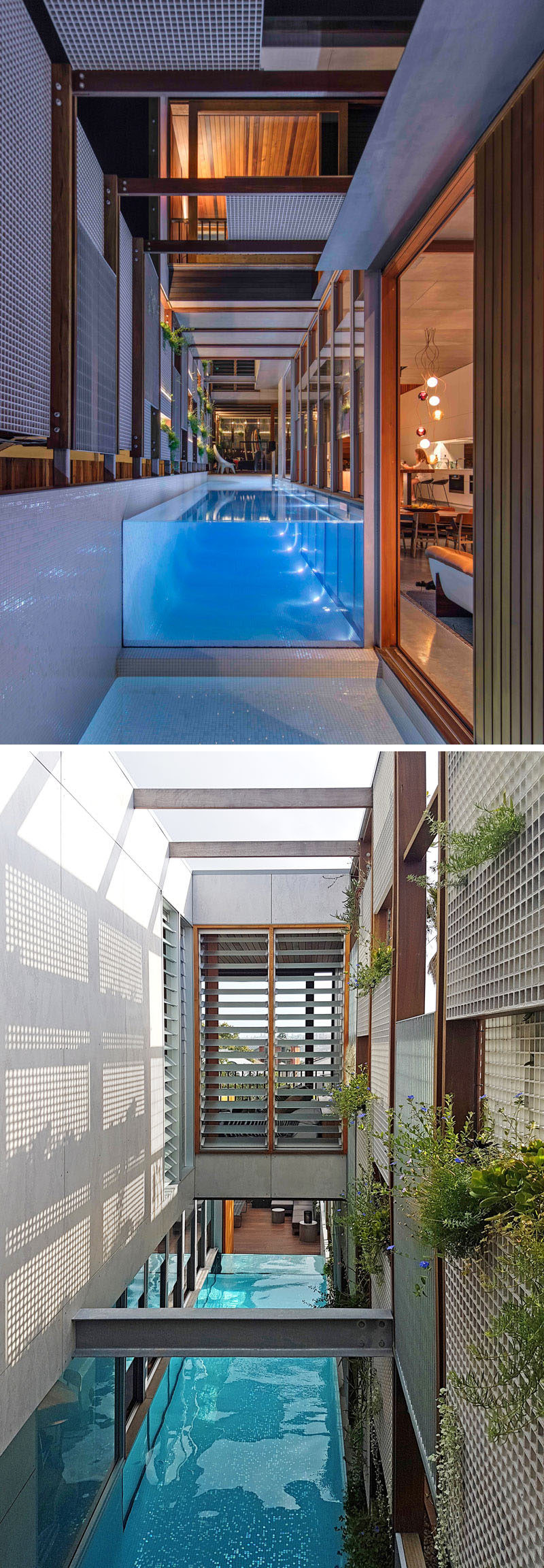 Off to the side of the living room in this modern house, is a small pond at the end of the above ground swimming pool. In these photos you can see how the space above the pool is partially open to the sky and allows sunlight to filter through.