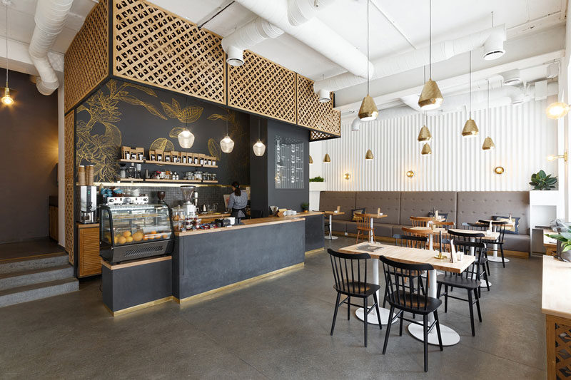 This Ukrainian Coffee Shop Has Touches Of Gold Throughout   CONTEMPORIST N K Architectvra have recently completed the design of the first coffee shop  with its