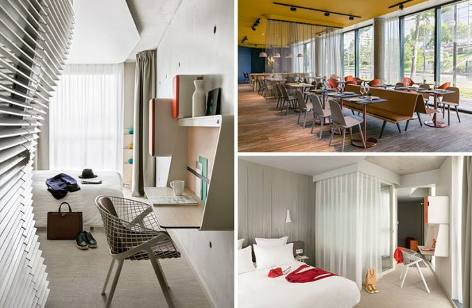 Architect Jean-Michel Wilmotte together with interior architect Patrick Norguet of Studio Norguet Design, have completed the recently opened OKKO Hotel in Porte de Versailles, France.