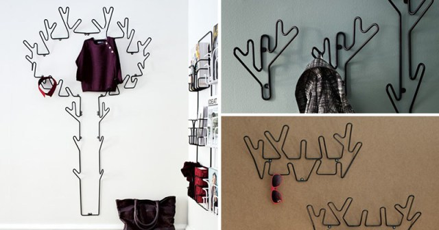 Designed by Louise Hederström and manufactured by Maze in Sweden, these nature inspired wall hooks are a creative twist to the traditional hanger. Decorative in design, these modern hangers are made from powder coated metal wire.