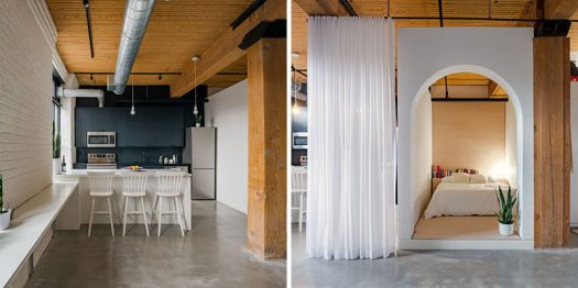 Studio AC have designed a modern loft in Toronto, Canada, for a young professional that wanted something fun, functional and unique. To achieve this, the designers used a combination of curtains and walls to create privacy and separation in the space. #ModernLoft #InteriorDesign