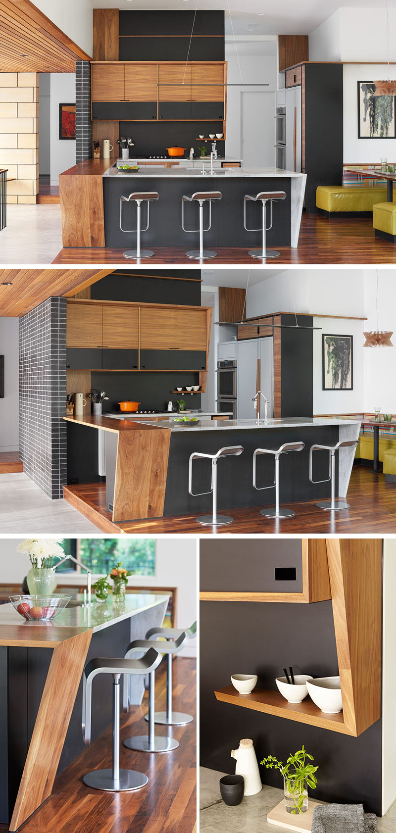 In this modern kitchen, wood and white cabinets and counters are combined with black elements for a sophisticated modern appearance. Off to the right of the kitchen is a dining booth with lime green and patterned banquette seating. #ModernKitchen #KitchenDesign