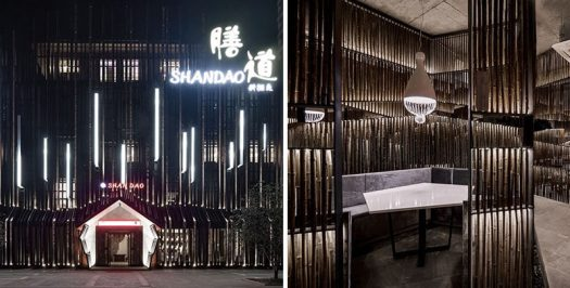 This modern restaurant in China uses bamboo and lighting to create a dramatic interior. #RestaurantDesign #Bamboo